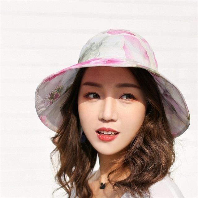 Floral Print Wide Brim Flodable Women Summer Hat  bd3be859349a