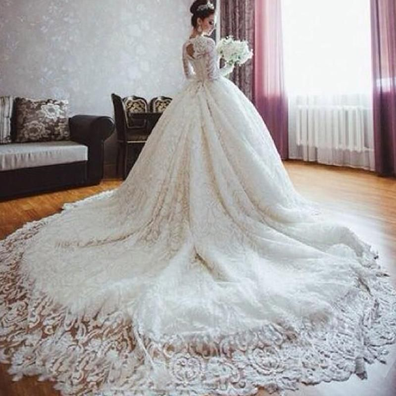 famous designer 2015 fall wedding dresses with long sleeves romantic ball gown lace royal wedding dresses with long train plus size bridal g