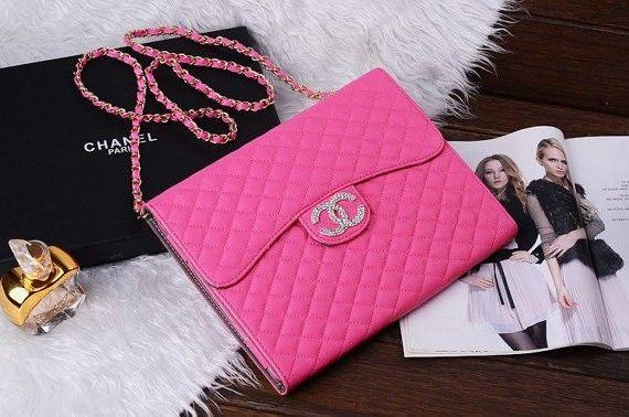 Hot Pink Por Chanel Boy Chain Purse Handbag Style Leather Case For Ipad Mini Air 2 3 4