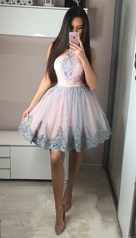 Cute A-Line Round Neck Knee-Length Pink Homecoming Dress with Appliques Short Prom Dresses Party Gown,Evening Gowns Party Dress New Evening
