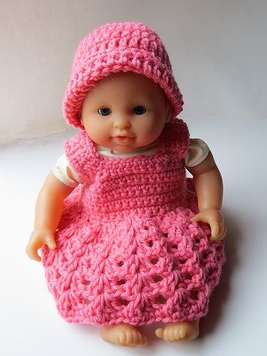14 Inch Baby Doll Dress Hat Pattern By Cindy Recyclecindy Crochet Doll Clothes Patterns Baby Doll Clothes Patterns Crochet Doll Clothes