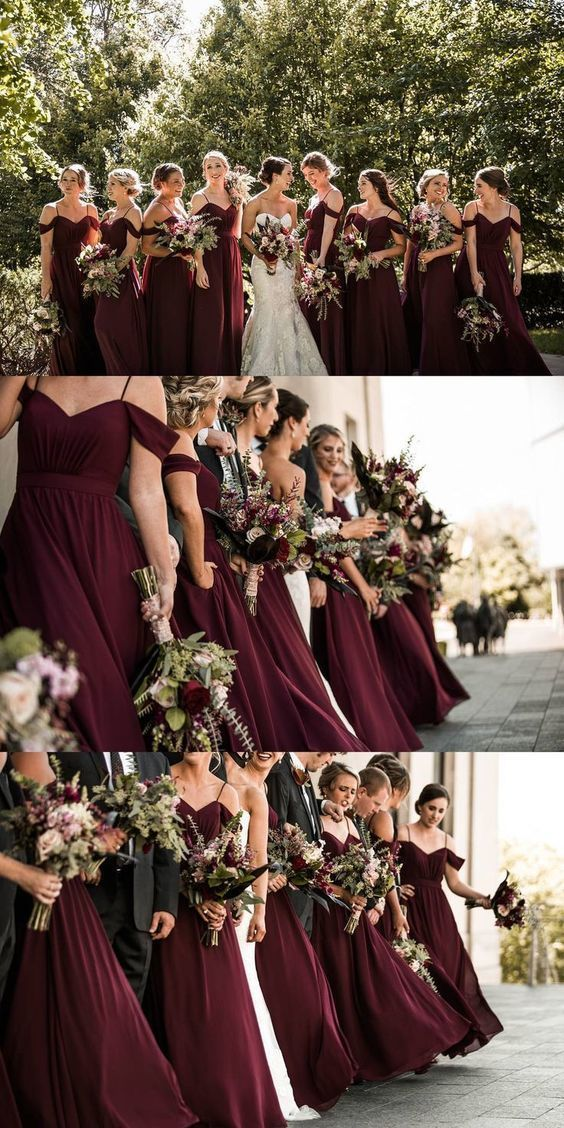 Burgundy bridesmaid and maid of honour dresses for burgundy theme and rustic wedding, boho wedding