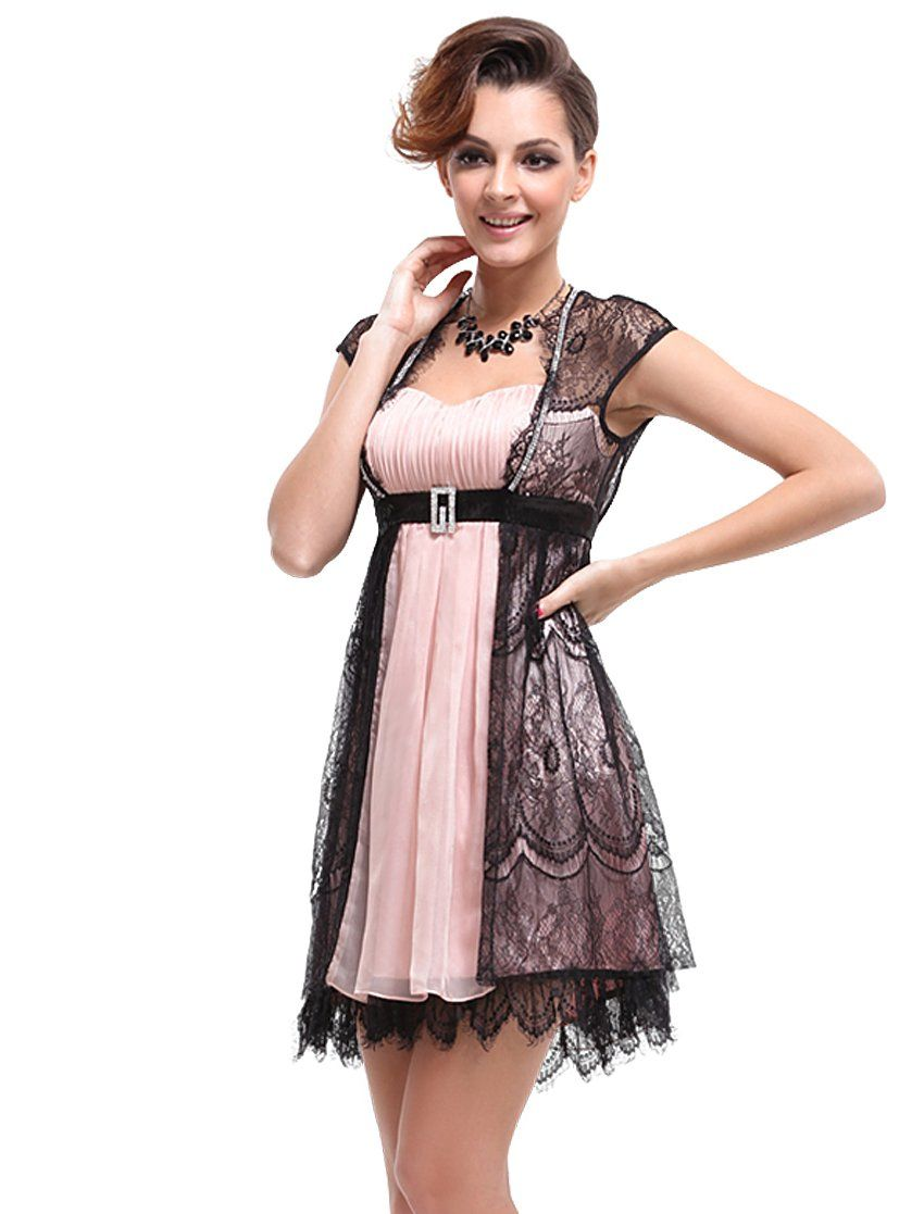 26a3a3af9945f Ever Pretty Rhinestones Sweetheart Neckline Pink Black Mini Casual Dress  03522, HE03522BP12, Pink, 10US