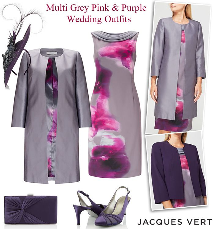 Jacques Vert Purple Grey Pink Mother Of The Bride Occasion Dress Suits Matching Wedding Coats And