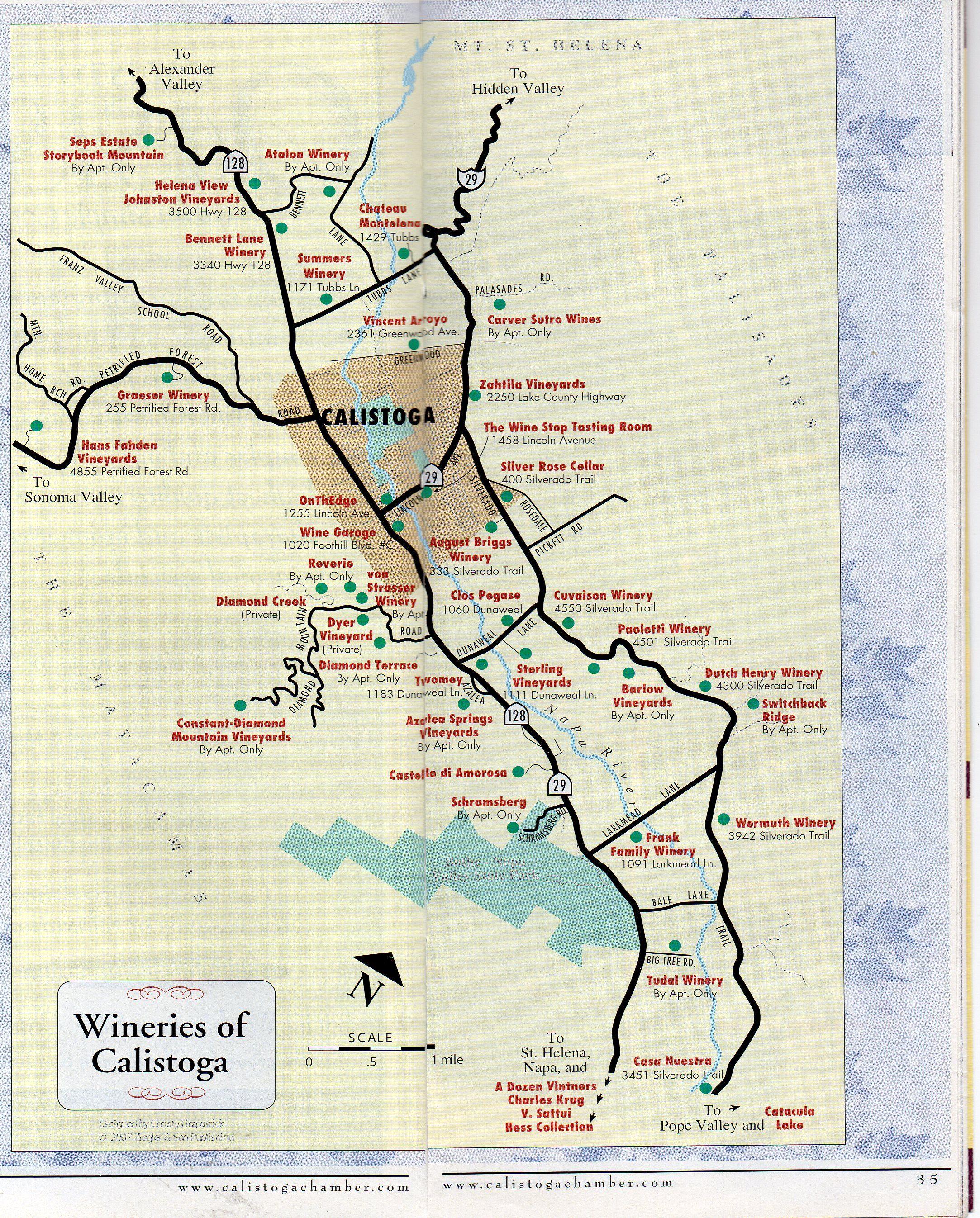 Calistoga Wineries Map   Napa and Lake Counties Wine ...