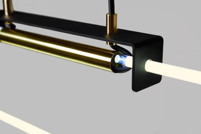 Suspension Ra Pendant Neon Noir Laiton Naturel L112cm H9cm 2800k 1800lm D Armes En 2020 Luminaire Lampe Neon Neon