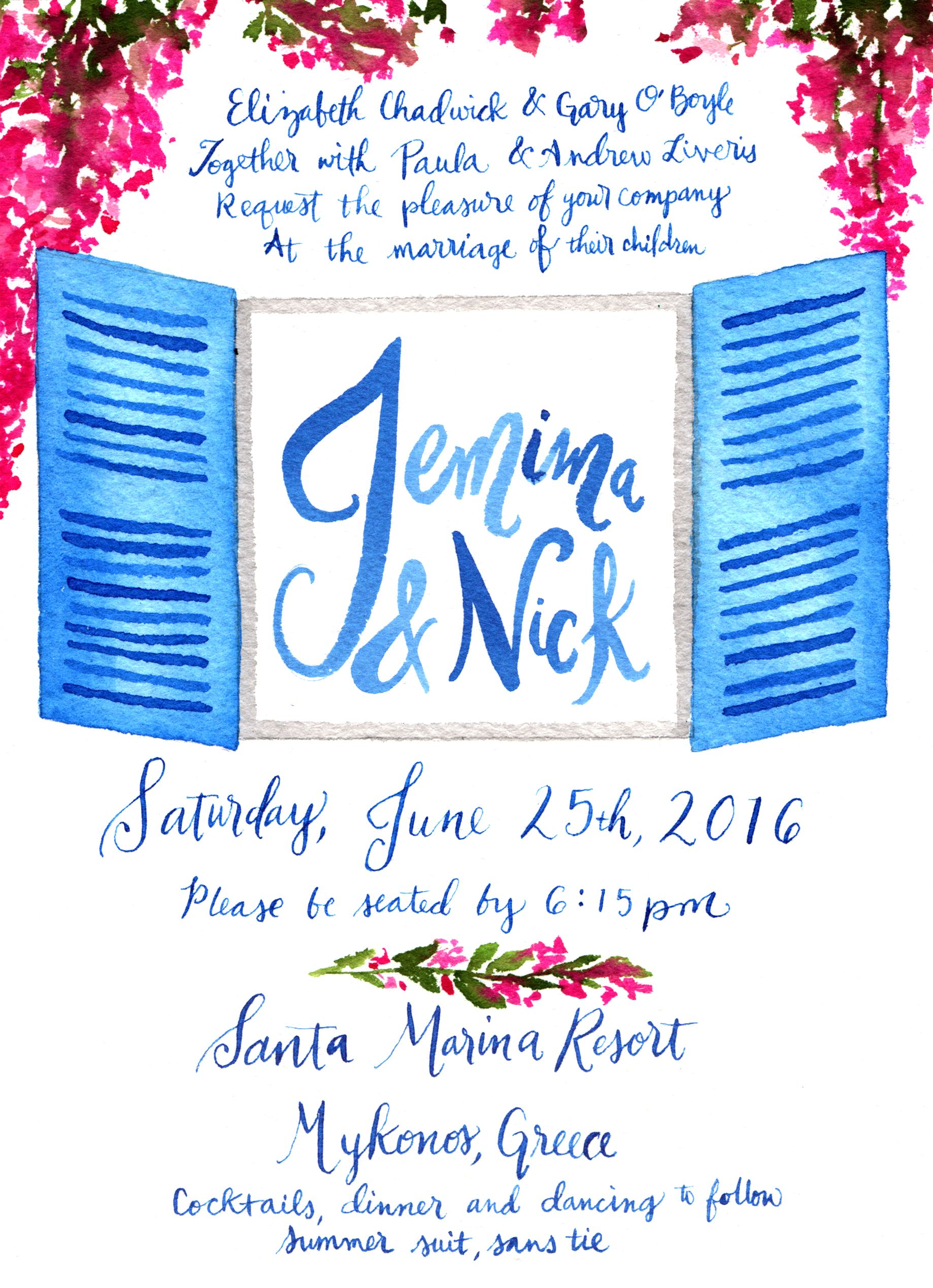 Watercolor Greek Invitation. Blue shutters, Bougainvillea ...