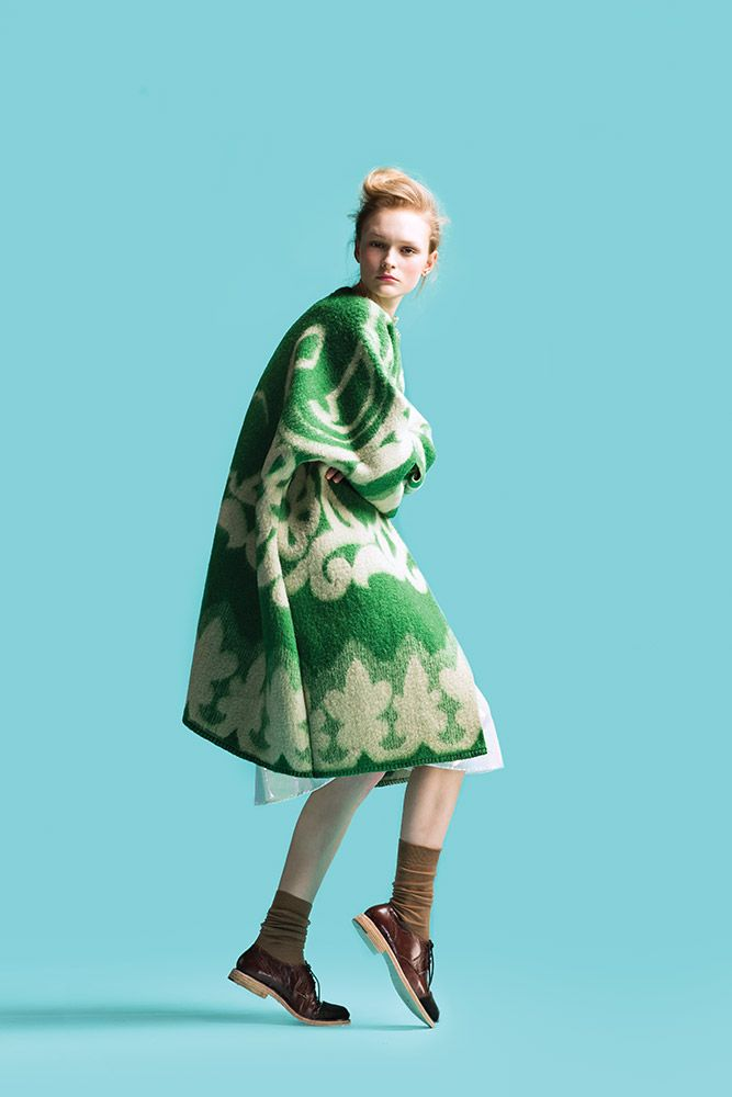 Marit Ilison - Longing fo Sleep (1)- block background. Very different context when a coat is used for such bold pattern- super interesting