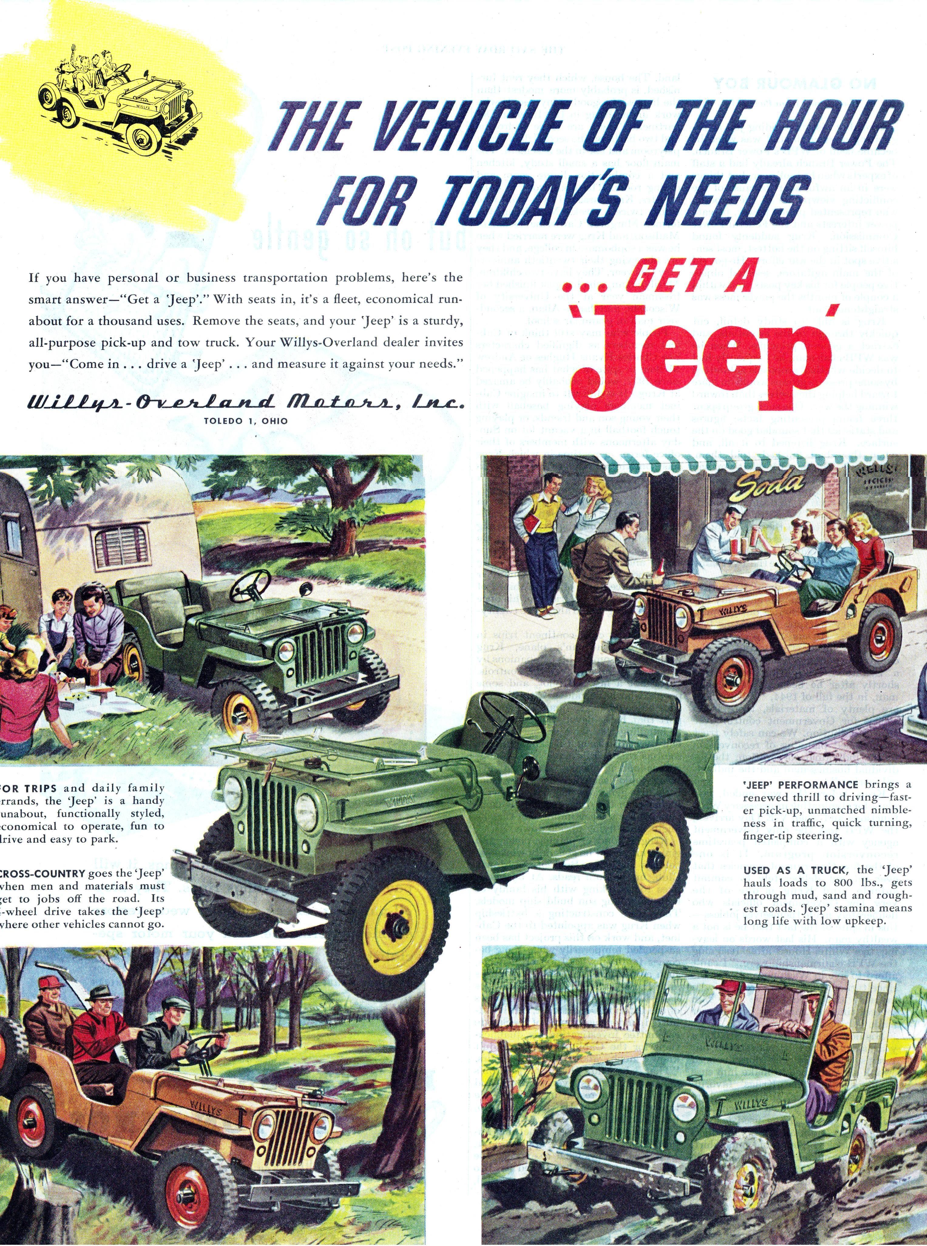 Classic Jeep Cj 2a Advertisement Get A Jeep Manassas Lindsay Manassas Chrysler Dodge Jeep Ram Willys Jeep Jeep Jeep Cj
