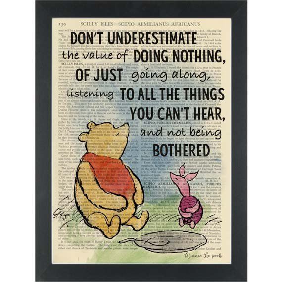 Winnie The Pooh The Art Of Doing Nothing Quote Dictionary Art Print