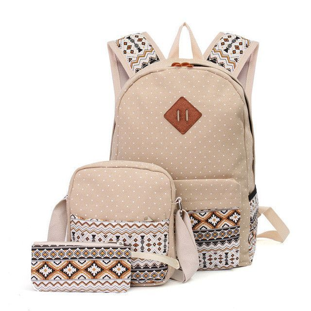 8c3c921cf4d AEQUEEN 3 PCS/Set Women Backpack Canvas Printing School Bags For ...