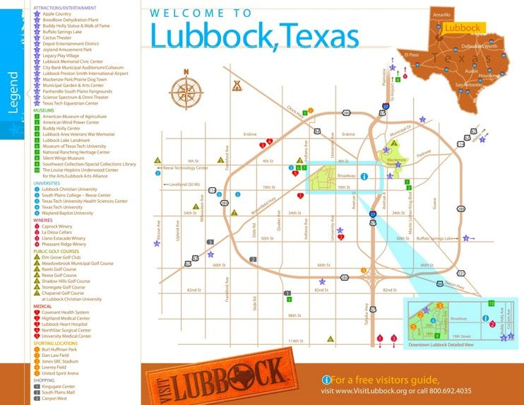 Lubbock tourist map Maps Pinterest Tourist map Usa cities and