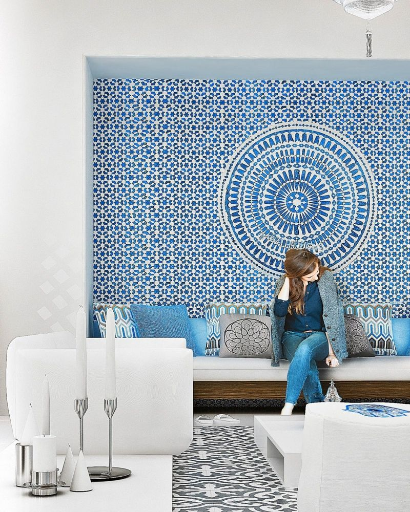 wandgestaltung mit orient-motiven aus mosaik in blau und weiß, Innenarchitektur ideen