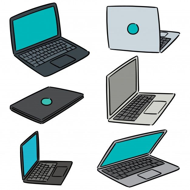 Vector Set Of Laptop