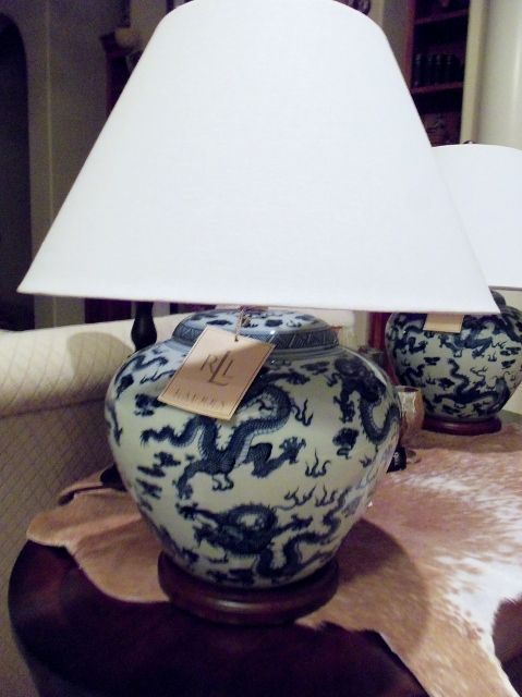 RALPH LAUREN Blue U0026 White Porcelain Table Lamp   Chinese Dragon Design NEW  FreeS | EBay