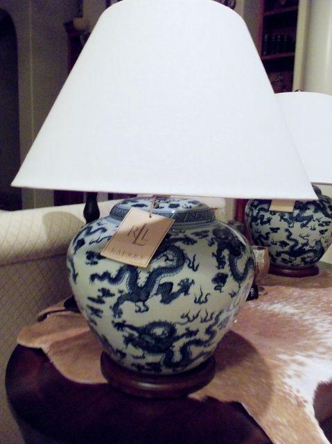 Ralph Lauren Blue White Porcelain Table Lamp Chinese Dragon