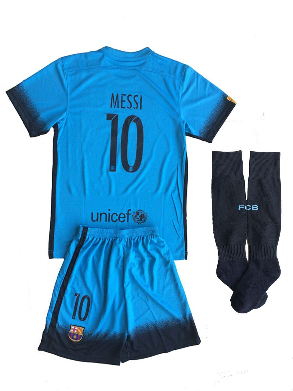 eb451615e NEW 2015 16 Fc Barcelona Messi  10 Third Away Blue Youths Football Soccer  Kids Jersey   Short   Socks
