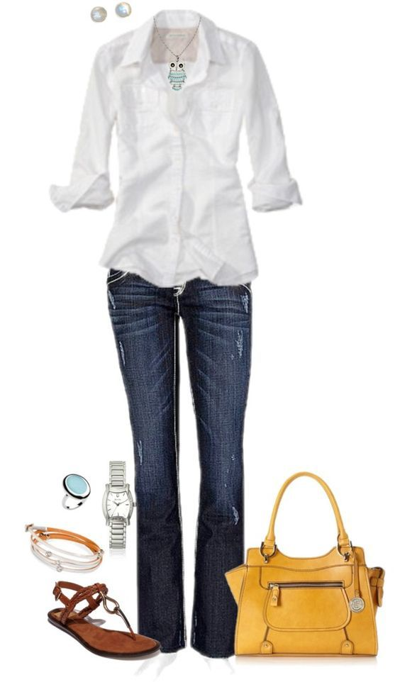 69c42d67ff Pretty basic white button down w jeans but the necklace and colored bag  really help make it look not so plain.