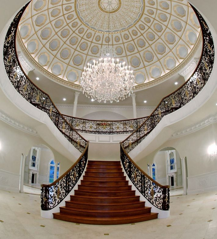 Monumental 'Y' Shaped Flared Stairway With Regency Forged