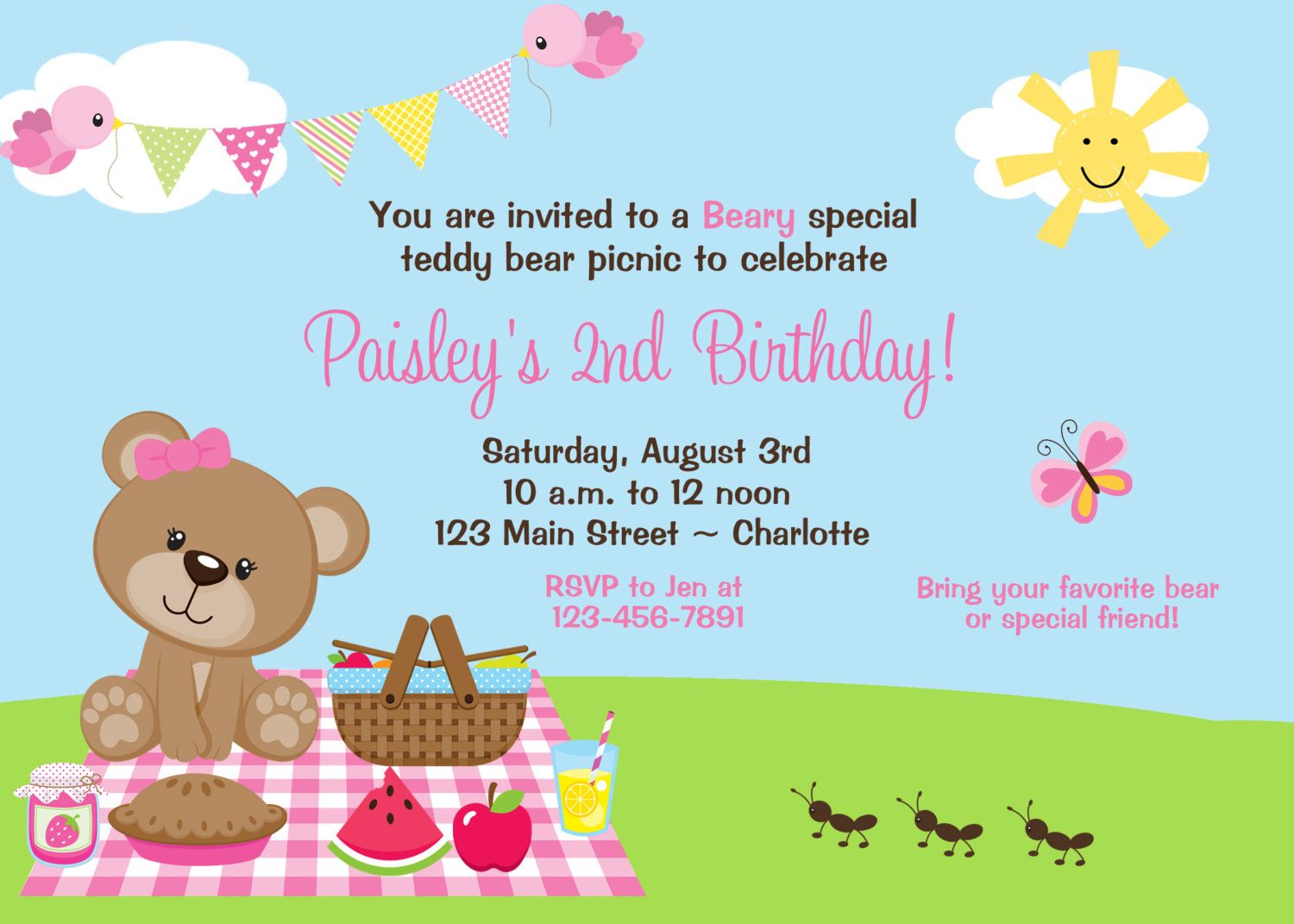 Teddy Bear Picnic Birthday Party Invitation  Teddy Bear Picnic