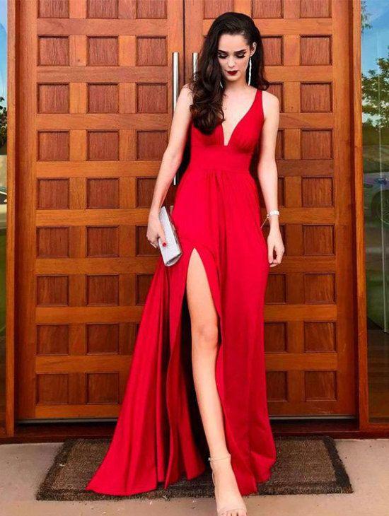 Elegant Red Split Side Long Prom Dresses Evening Dress for Women