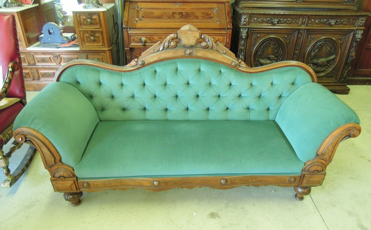 Sensational Victorian Walnut Sofa Hand Carved Velvet Bench Seat Machost Co Dining Chair Design Ideas Machostcouk