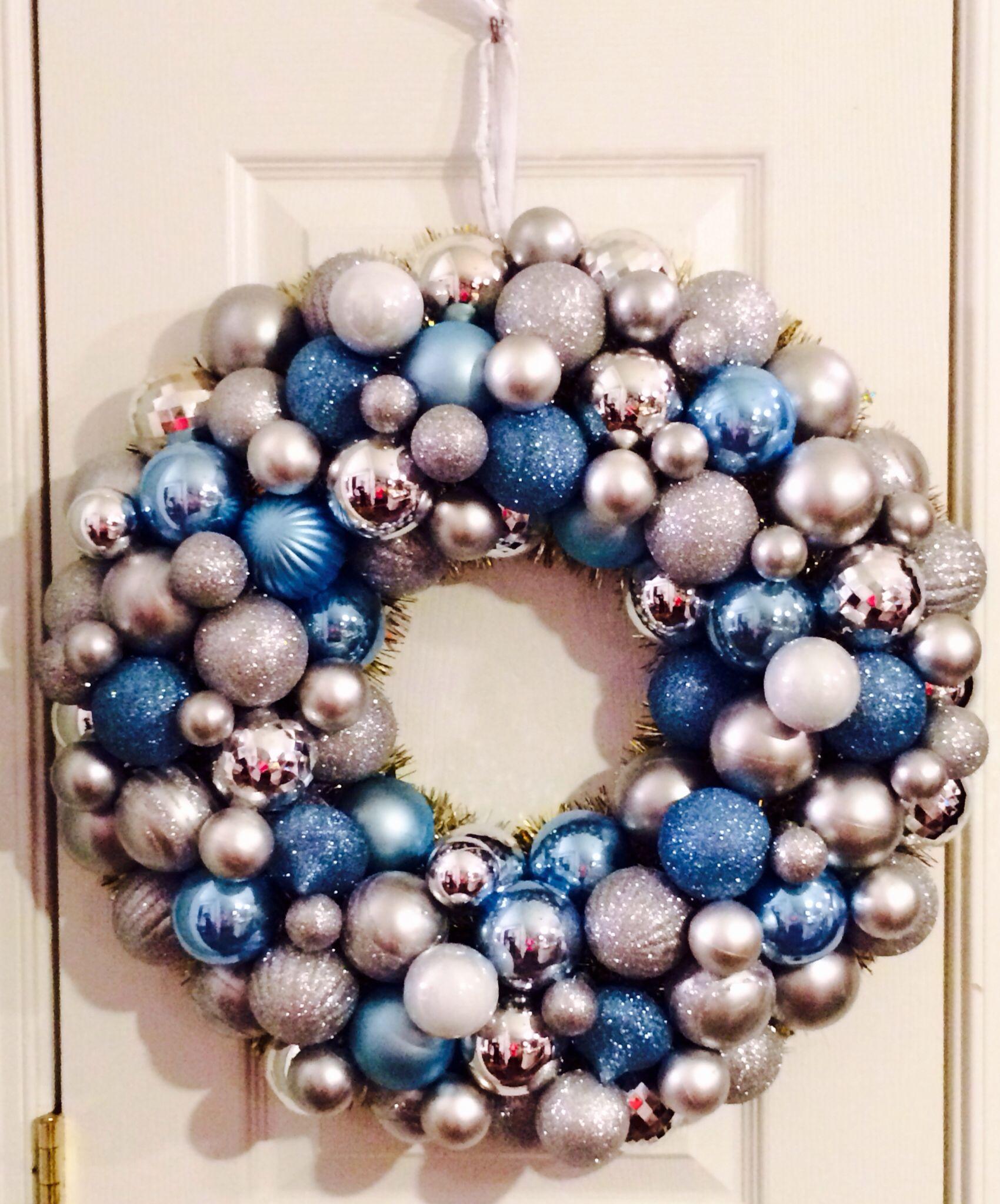 Handmade Ornament Wreath Blue Gold Xmas Wreaths Ornament Wreath Handmade Ornaments