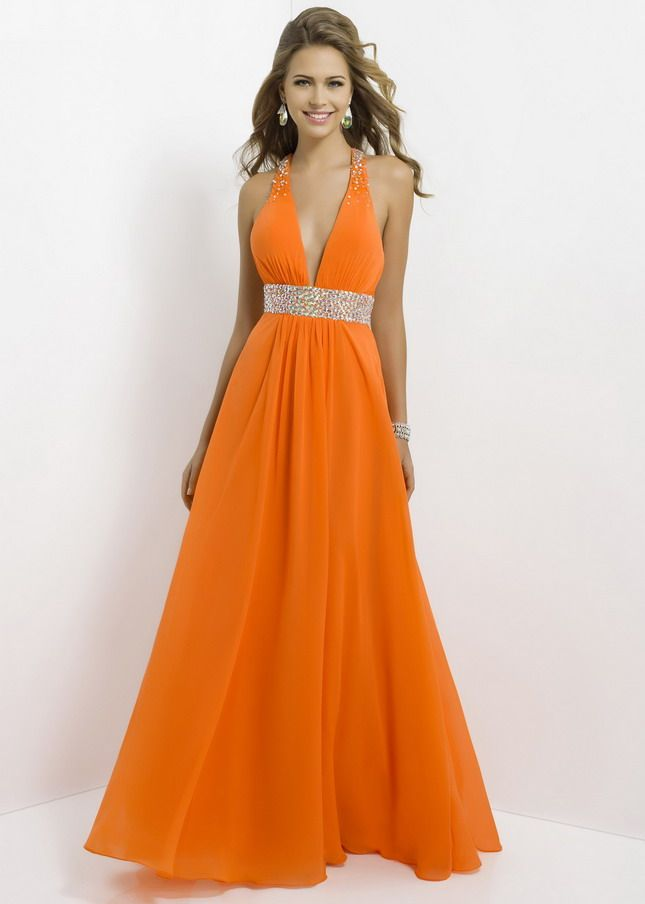 Orange Deep V Neck Rhonestone Waist Open Back Chiffon Long Dress ...