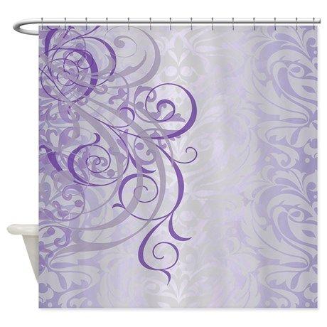Vintage Rococo Purple Damask Shower Curtain By Theinspirededge