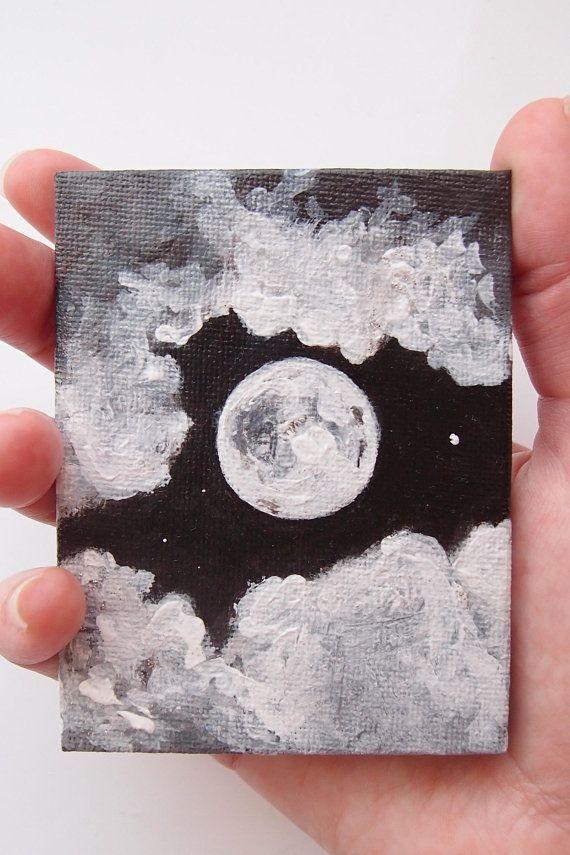 Miniatur-Acryl-Vollmond-Kunst, schwarz / weiß Nachthimmel Gemälde, Luna, Monoc #wasserfarbenkunst