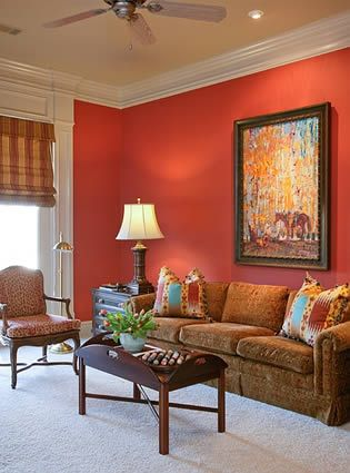 I 39 m painting or living room this color coral on one for Coral walls living room