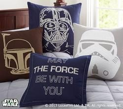 """Designed in grand galactic style, our Star Wars(TM) shams are crafted with intricate crewelwork to capture the face of each famous character. 20"""" square pure cotton canvas. Reverses to solid cotton percale. Envelope closure. Insert sold separately; down blend or synthetic. Machine wash. Imported."""