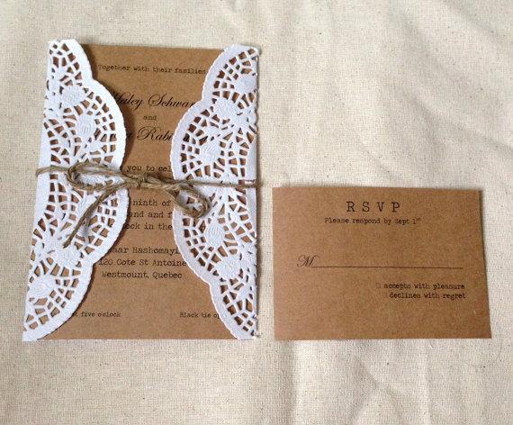 Doily Wrapped Twine Rustic Wedding Invitation