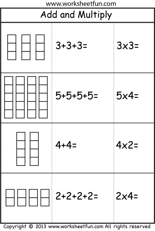 Add and Multiply - Repeated Addition - 2 Worksheets | Printable ...