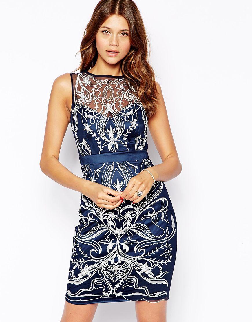 Lipsy VIP Pencil Dress with Lace Embellishment | La robe sous toutes ...