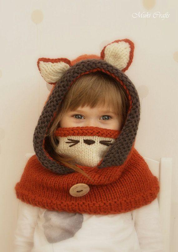 Knit fox hood cowl Rene PDF knitting pattern in por MukiCrafts ...