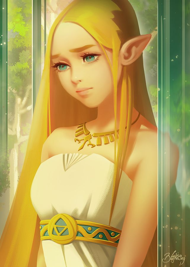 Princess Zelda From Botw In Anime Style Legend Of Zelda