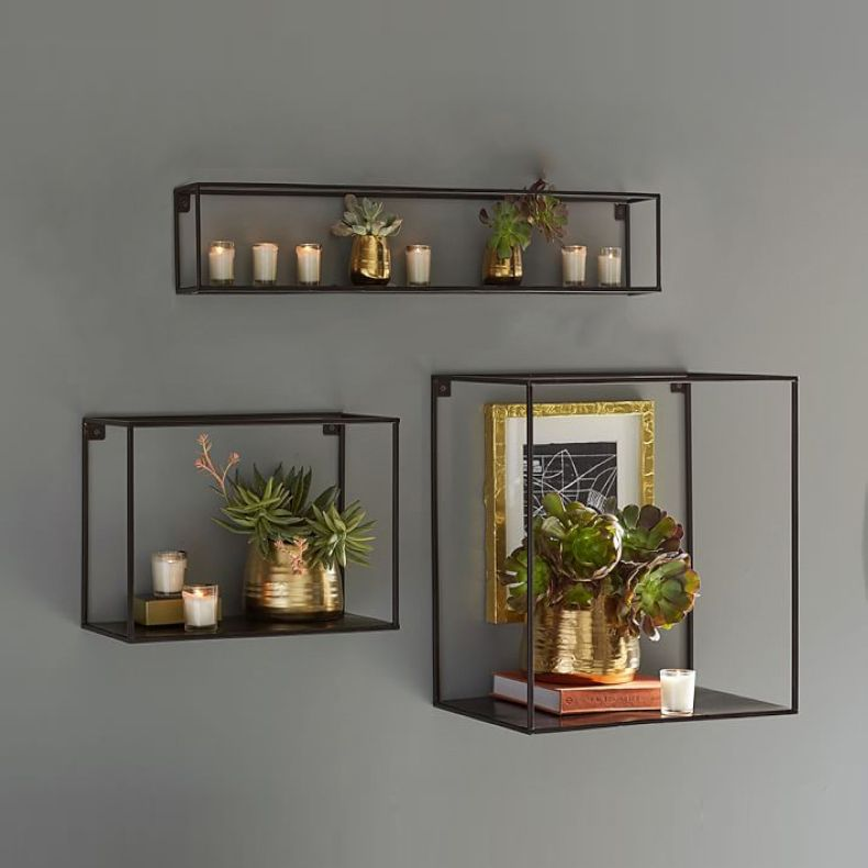 Nordic Style Bookcase Living Room Wrought Iron Wall Hanging