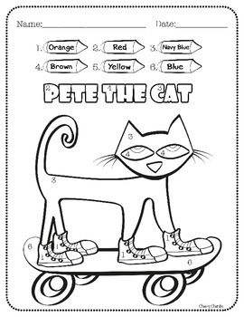 pete the cat color by number unique units tieplay educational resources llc pinterest. Black Bedroom Furniture Sets. Home Design Ideas