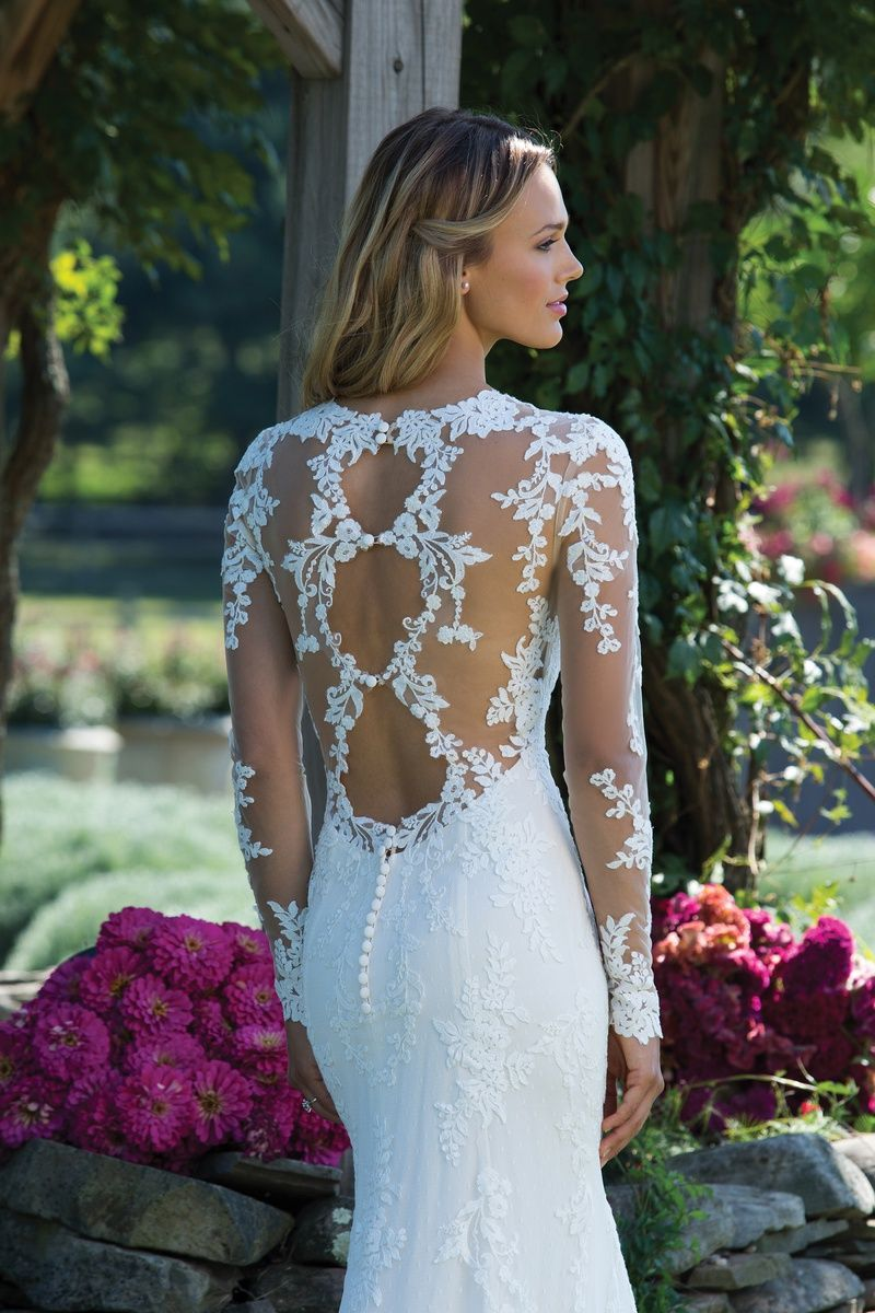 Sincerity bridal fit and flare gown with lace sleeves and triple