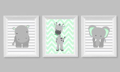 Zoo Kinderzimmer Dekor, Elefant Kindergarten Kunst, grau