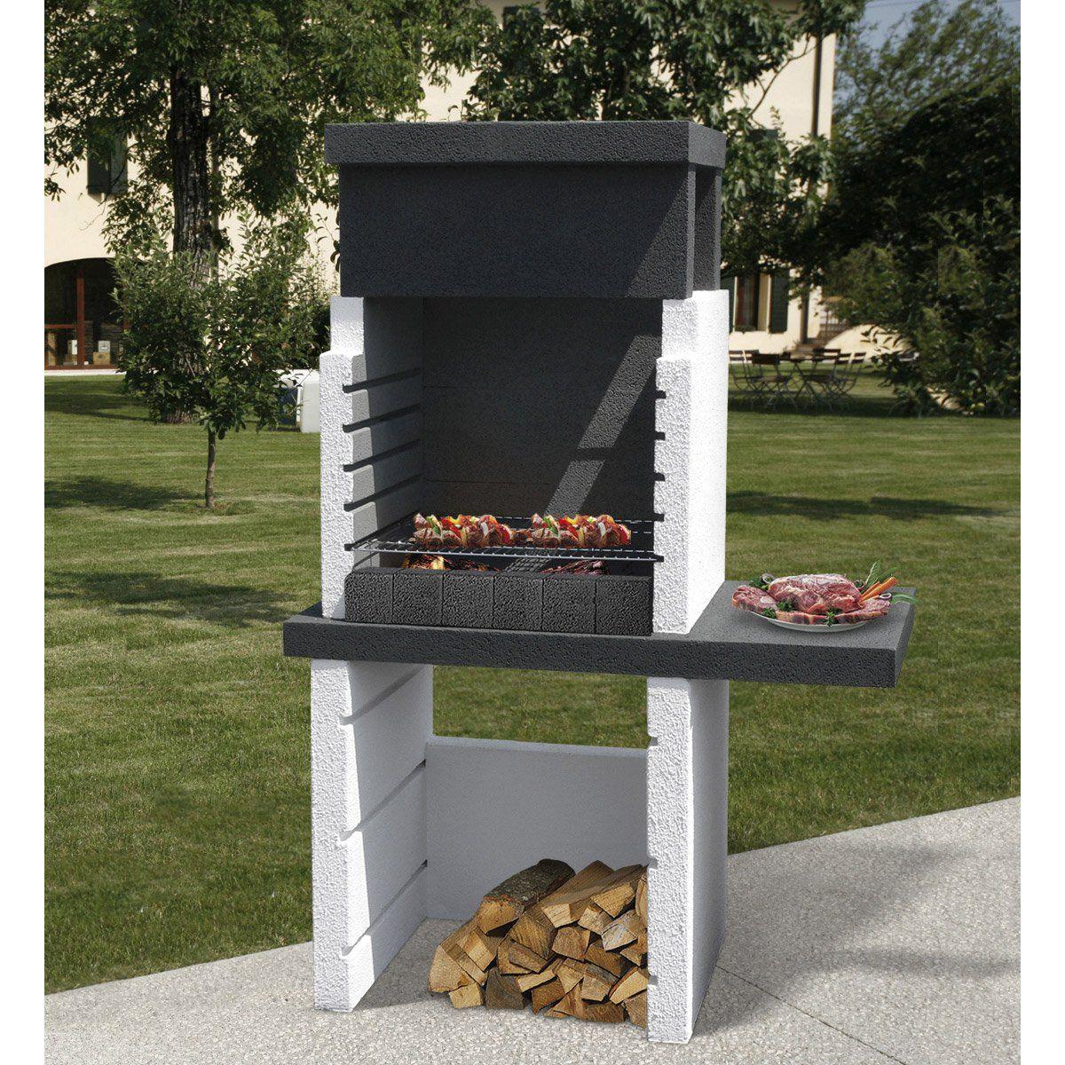 Barbecue En Béton Gris Et Noir Salvador L114 X L64 X H