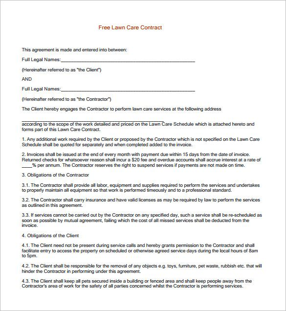 Lawn Service Contract Templates  Free Word Pdf Documents
