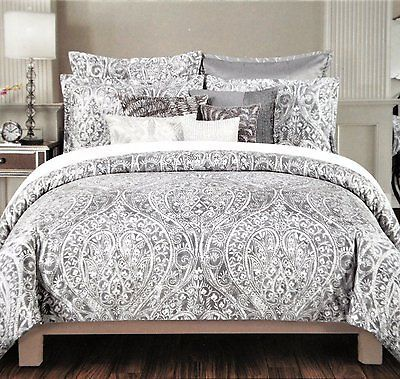 Tahari Home Silver Grey Paisley Queen Comforter Set 6 Pieces Cotton