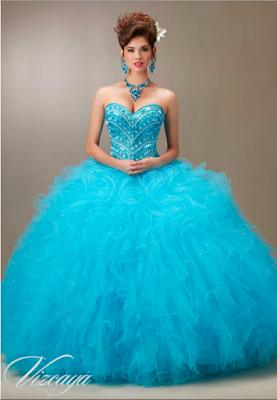 ecb2ed829 modelos de Vestidos de 15 Años Azul Turquesa