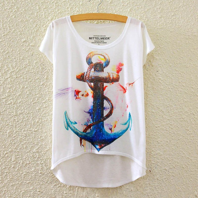MITTELMEER New Polyester T-Shirt Women Short Sleeve t-shirts o-neck Causal loose Colored bird wing T Shirt Summer tops for women
