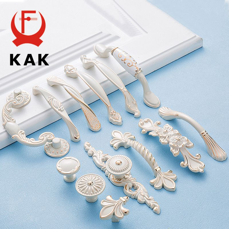 KAK Zinc Aolly Ivory White Cabinet Handles Kitchen Cupboard Door ...