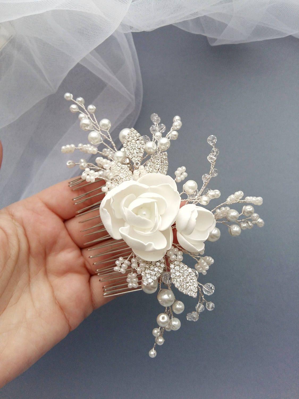 magnolia bridal hair comb wedding hair comb bridal | wedding