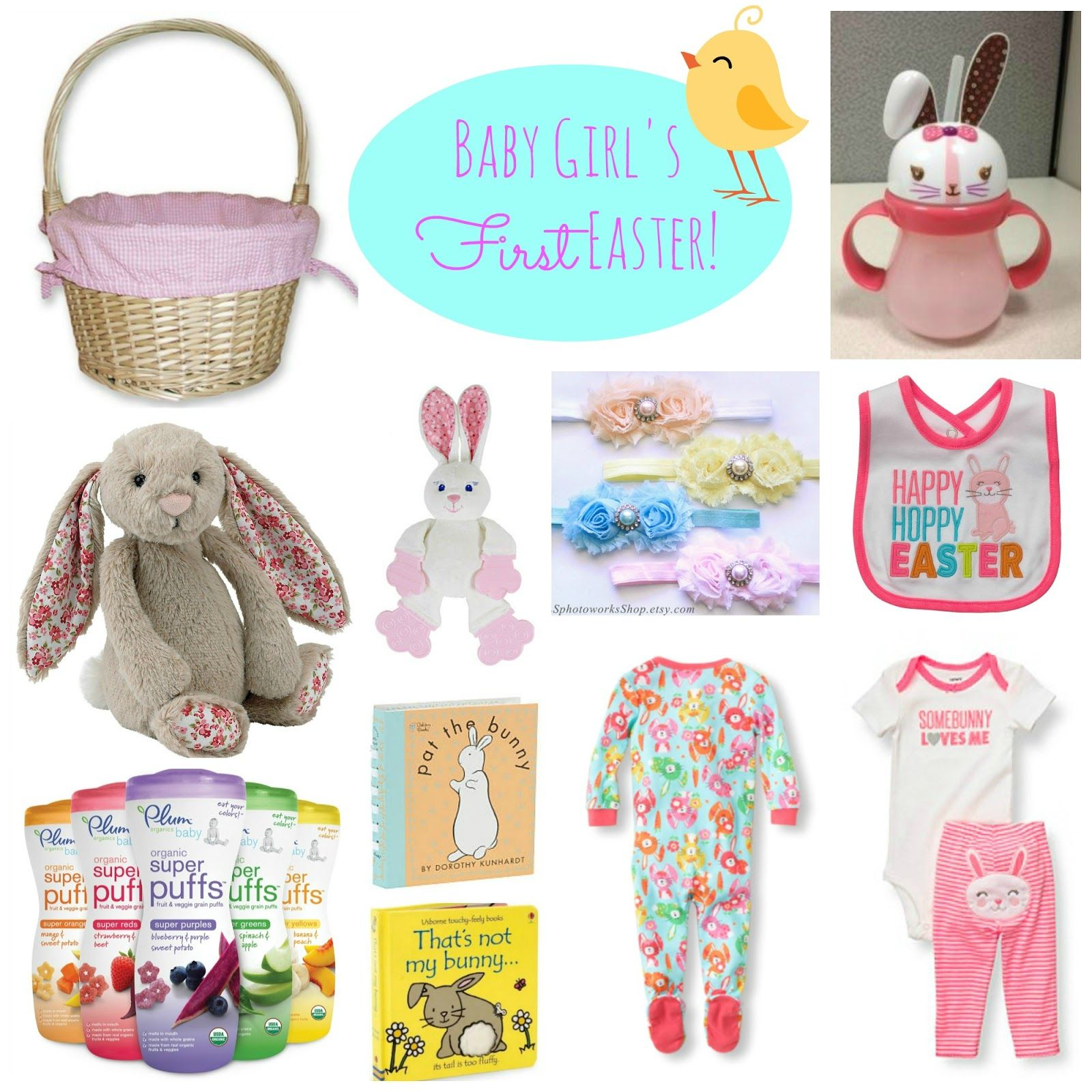 Baby girls first easter basket ideas with links for