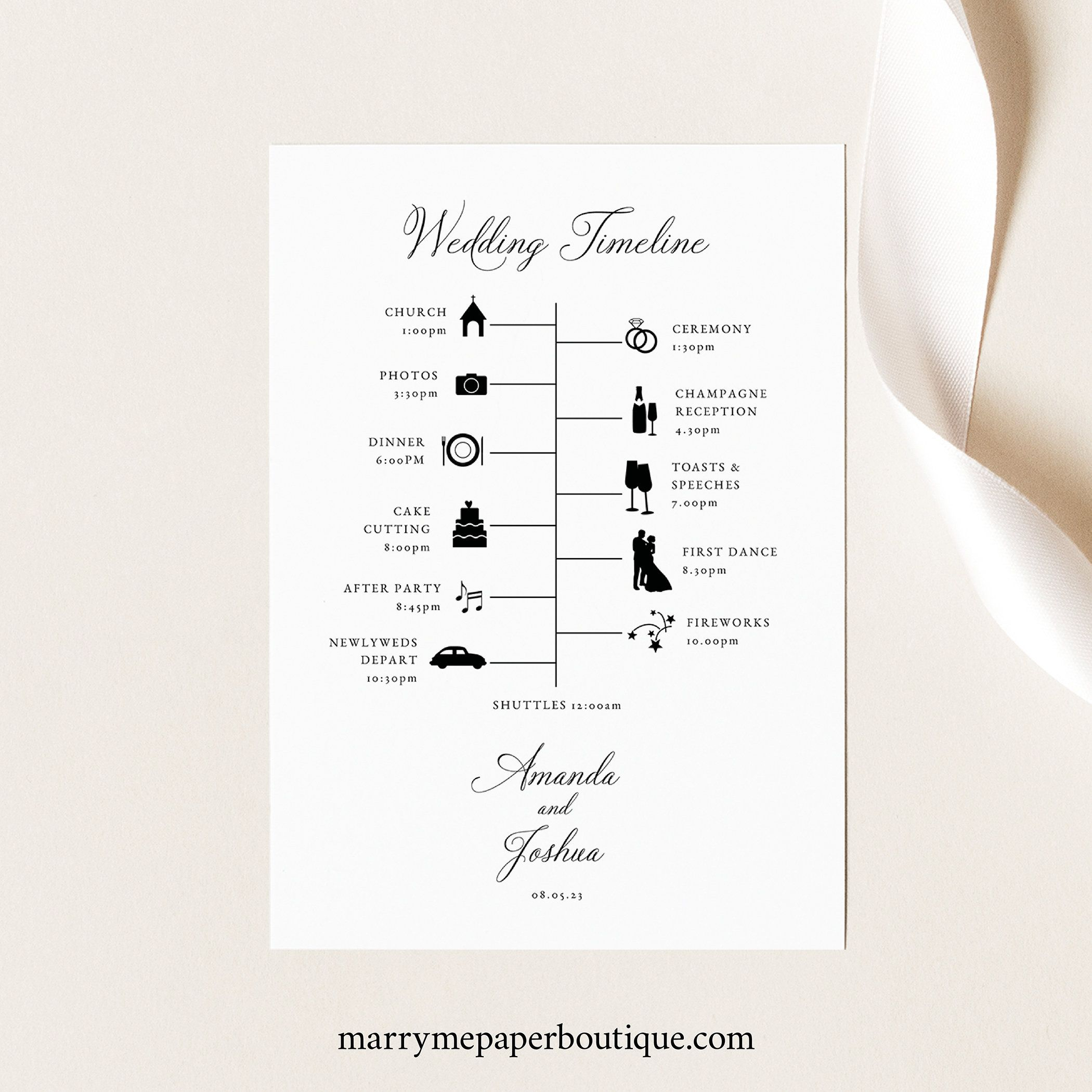 Wedding Timeline Card Template Traditional Wedding Etsy In 2021 Wedding Timeline Wedding Itinerary Traditional Wedding